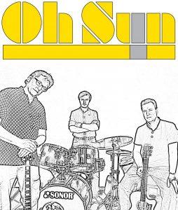 Oh Sun! sind aktuell Thomas Auth (E-Gitarre), Jürgen Langer (Drums) und Roland Grimm (Akustikgitarre). Grafik: Grimm